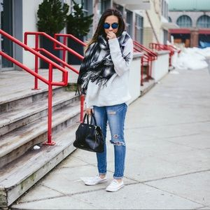 Urban Outfitters Plaid Fringe Scarf